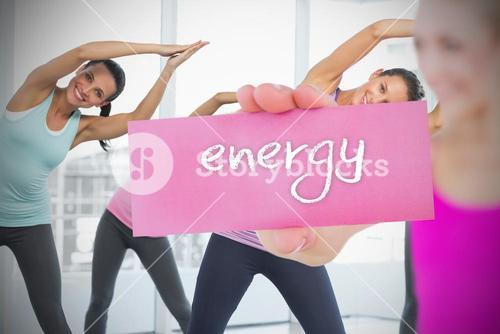 Fit blonde holding card saying energy