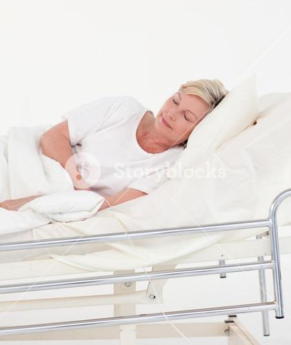 Bright patient lying on a medical bed