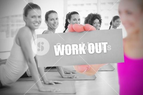 Fit blonde holding card saying work out