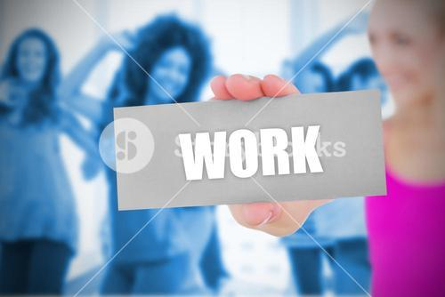 Fit blonde holding card saying work