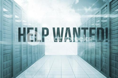 Help wanted! against server hallway in the blue sky