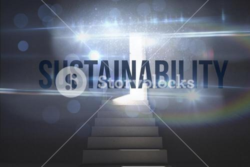 Sustainability against steps leading to door showing light