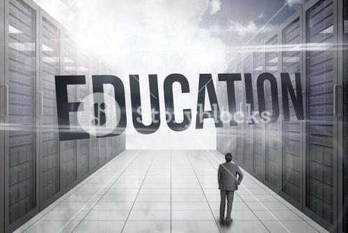 Education against server hallway in the sky