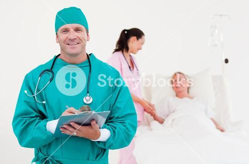 Doctors examining a patient together