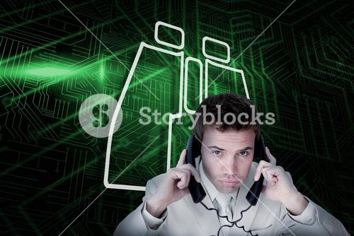 Composite image of binoculars and businessman tangled in wires