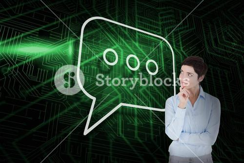 Composite image of speech bubble and thinking businesswoman