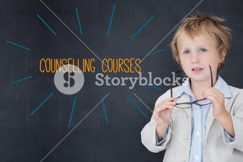 Counselling courses against schoolboy and blackboard