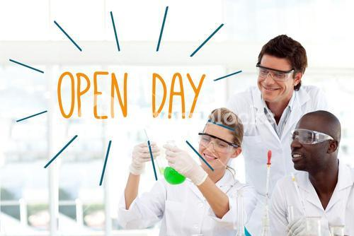 Open day against scientists working in laboratory