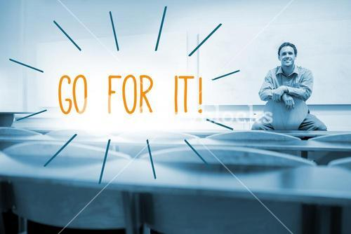 Go for it! against lecturer sitting in lecture hall