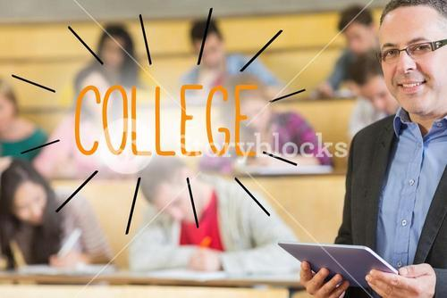 College against lecturer standing in front of his class in lecture hall