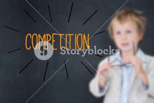 Competition against schoolboy and blackboard