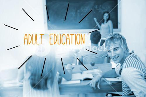 Adult education against students in a classroom