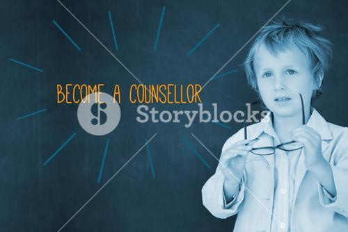 Become a counsellor against schoolboy and blackboard