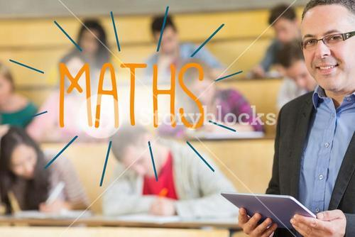 Maths against lecturer standing in front of his class in lecture hall
