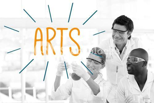 Arts against scientists working in laboratory