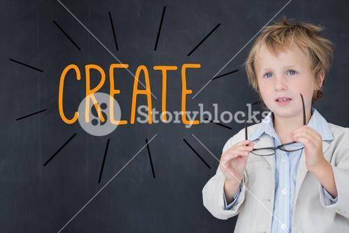 Create against schoolboy and blackboard