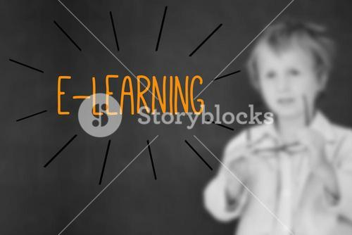 E-learning against schoolboy and blackboard