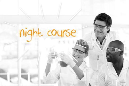 Night course against scientists working in laboratory