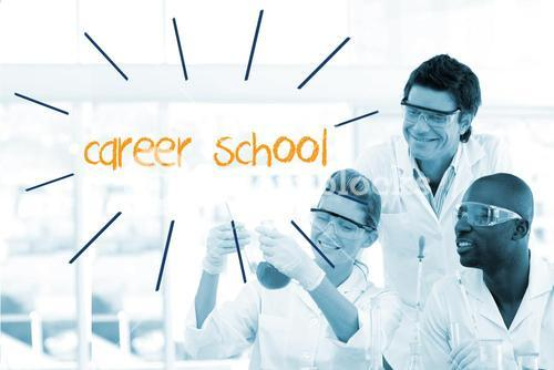 Career school against scientists working in laboratory