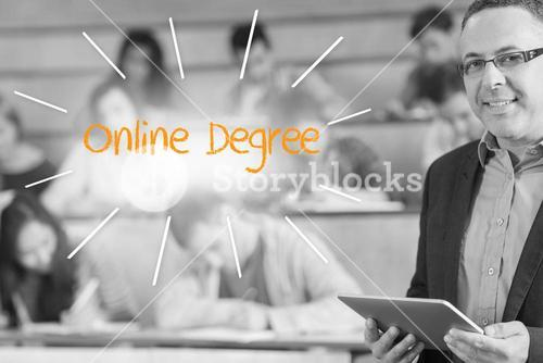 Online degree against lecturer standing in front of his class in lecture hall