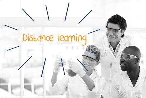Distance learning against scientists working in laboratory