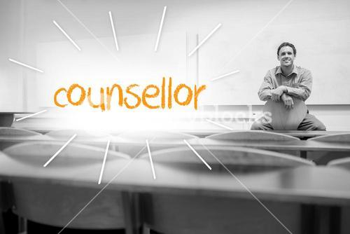 Counsellor against lecturer sitting in lecture hall