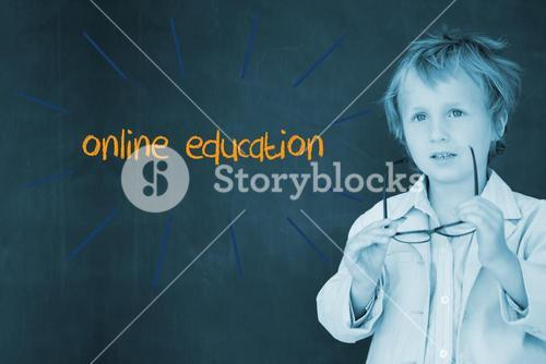 Online education against schoolboy and blackboard