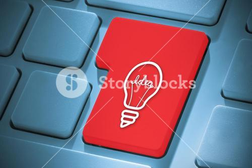 Composite image of idea and innovation graphic on enter key