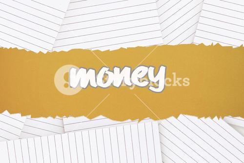 Money against lined paper strewn over surface