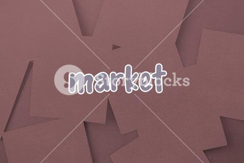 Market against digitally generated grey paper strewn