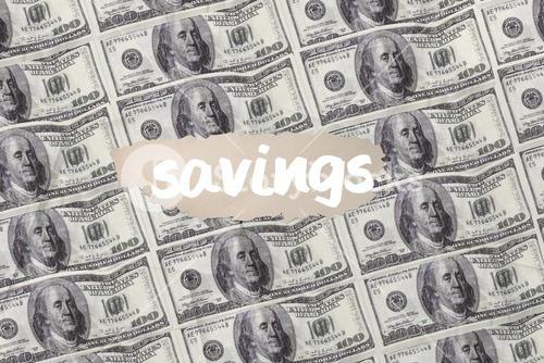 Savings against digitally generated sheet of dollar bills