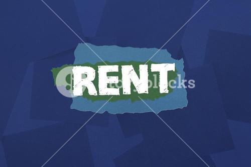 Rent against digitally generated blue paper strewn