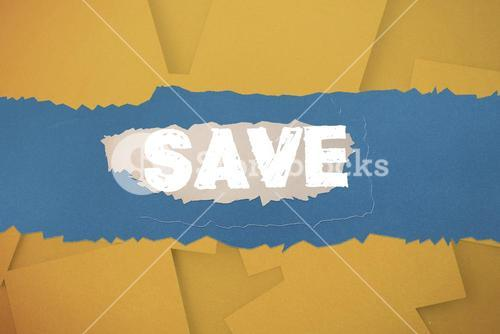 Save against digitally generated orange paper strewn
