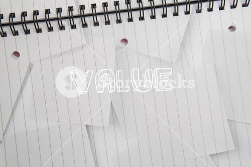 Value against digitally generated notepad with lined paper