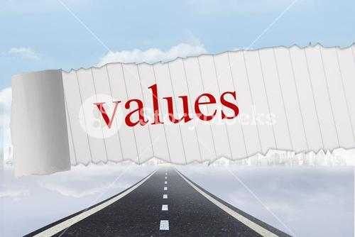 Values against open road background
