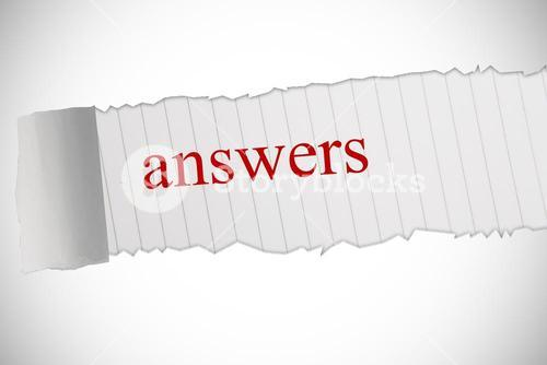 Answers against white background with vignette