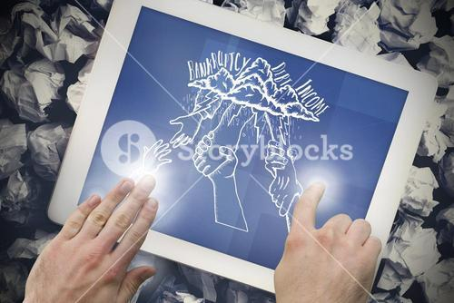 Composite image of hand touching tablet