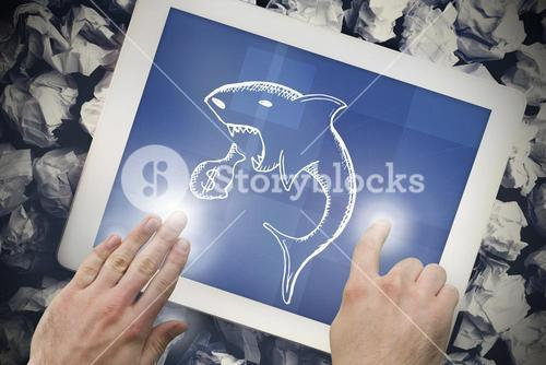Composite image of hands touching tablet screen