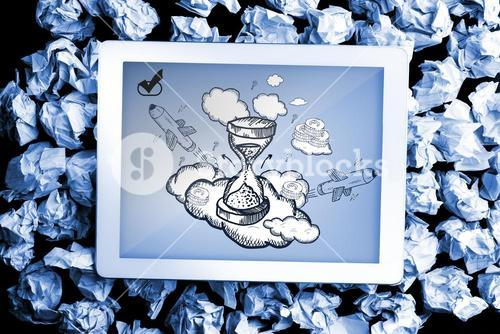 Composite image of hourglass doodle