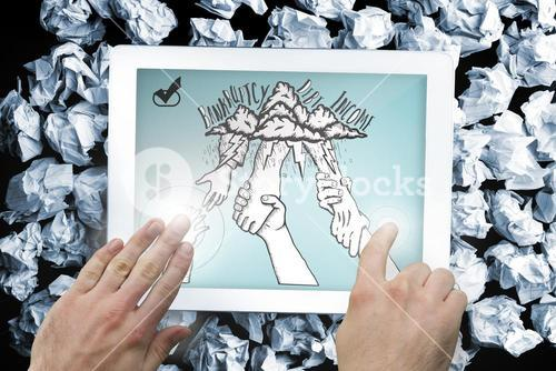 Composite image of hands touching tablet