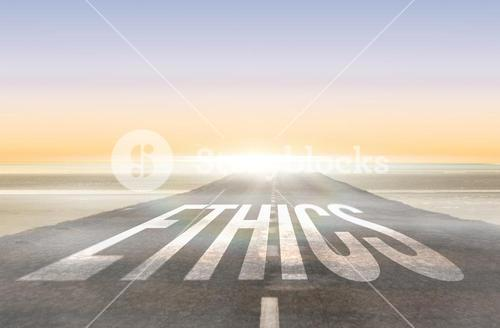 Ethics against road leading out to the horizon
