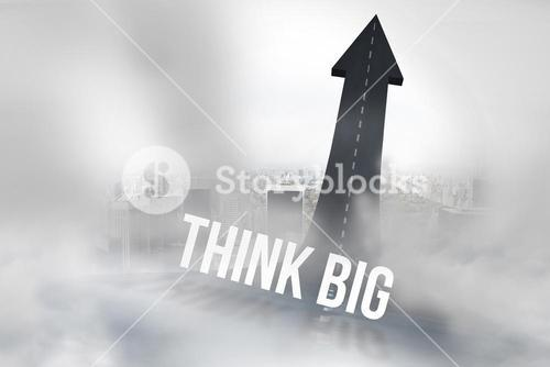 Think big against road turning into arrow