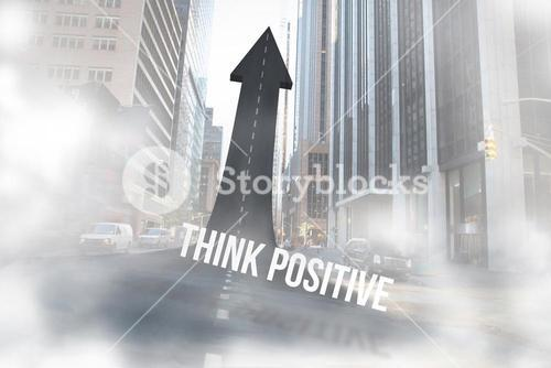 Think positive against road turning into arrow