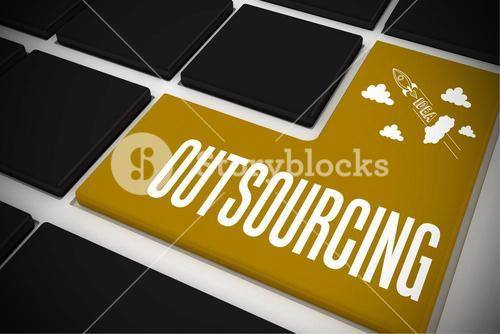 Outsourcing on black keyboard with yellow key