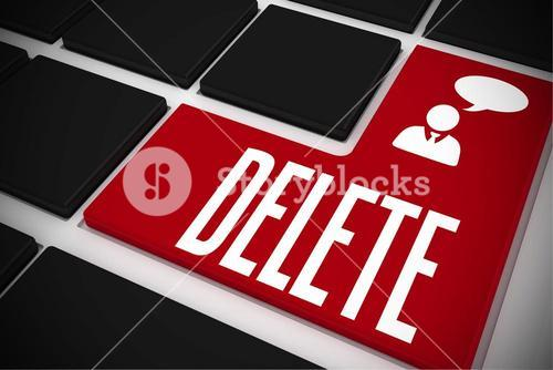 Delete on black keyboard with red key
