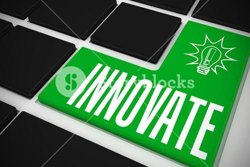 Innovate on black keyboard with green key