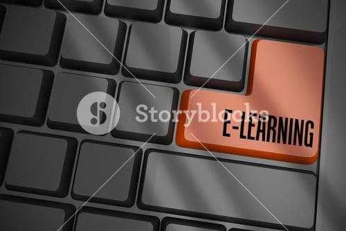 E-learning on black keyboard with brown key
