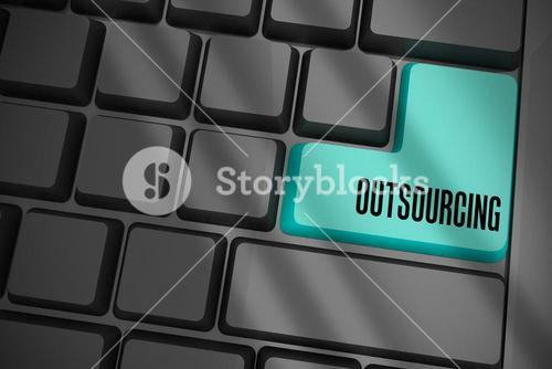Outsourcing on black keyboard with blue key