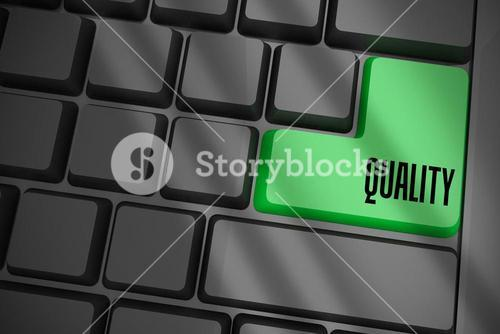 Quality on black keyboard with green key