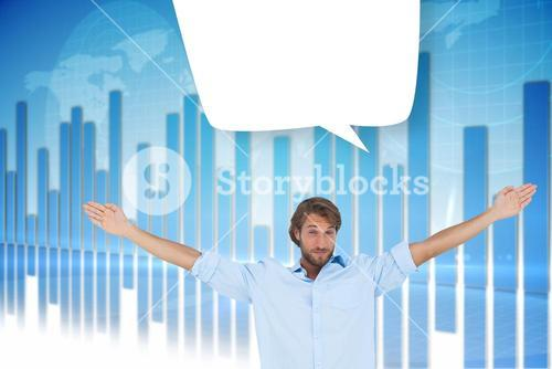 Composite image of handsome man raising hands with speech bubble